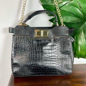 Olivia + Joy black faux alligator leather bag